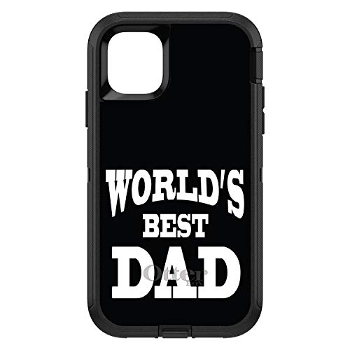 """DistinctInk Case for iPhone 12 Pro MAX (6.7"""" Screen) - Replacement for OtterBox Defender Custom Black Case - Black White World's Best Dad - Happy Father's Day"""
