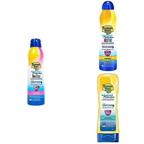 Banana Boat Crema Solar Bundle de Familia Bebé Y Niño Spray, Adulto Crema Advanced Protection