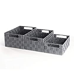 ✔️ STYLISH GREY WOVEN NYLON - The attractive woven nylon design gives these baskets a smart finish that complements a wide range of home decors. ✔️ VERSATILE STORAGE - Our baskets are perfect for storing your little knick knacks such as keys and tiss...