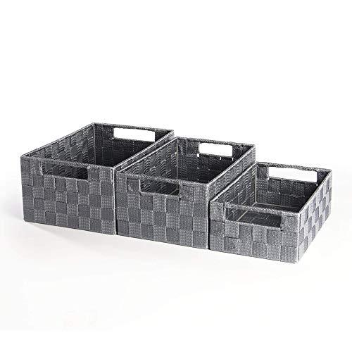 Canastas de almacenamiento de nylon gris grande, mediano y pequeño - Paquete de 3 | Para armarios Estanterías Almacenamiento de baño | Pukkr