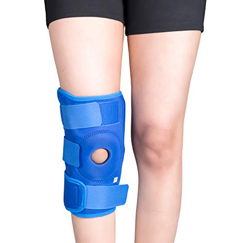 Wonder Care Open Patella Hinged Knee Brace for Knee Joint Pain Relief Knee Support Cap Sleeve for Men & Women Ligament Tear Wraparound Stabilizer Blue (M)