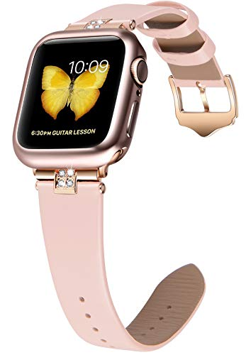 JSGJMY Compatible with Apple Watch 38mm 40mm 42mm 44mm Women Shiny Patent Genuine Leather Strap with Diamond Rhinestone for iWatch Series 5 4 3 2 1 (Soft Pink/Rose Gold, 38mm/40mm)