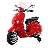 Mondial Toys Moto ELETTRICA per Bambini Vespa 946 Piaggio 12V con Sedile in Pelle LUCI Suoni Rosso