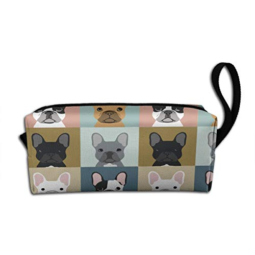 French Bulldog Pattern Makeup Bag Adorable Travel Cosmetic Pouch Toiletry Organizer Case Gift for Women