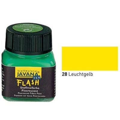 Javana Textil FLASH Neon fluoreszierende Stoffmalfarbe 20ml, Leuchtgelb