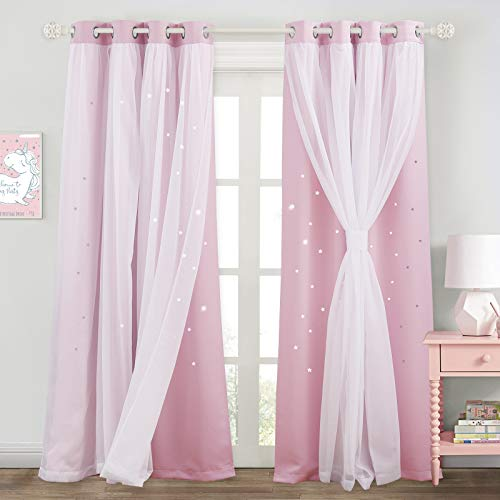 NICETOWN Kids Bedroom Living Room Window Curtain Pairs, Layered Star Cutout Blackout Curtains with White Sheer Set of 2 (Lavender Pink, W52 X L84 Tie Backs Included)