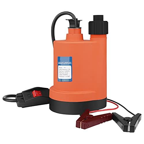 Water Pump Submersible Pump DC 12V Sump Pump 1500 GPH Utility Pump With Switch-Orange