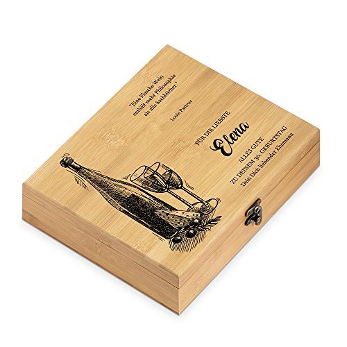 Murrano Weinöffner-Set personalisiert Weinset Sommelier Set - Geschenkbox Holzbox + 6er Weinzubehörset - aus Bambus - Braun - Geschenke für Frauen zum Geburtstag - Zitat