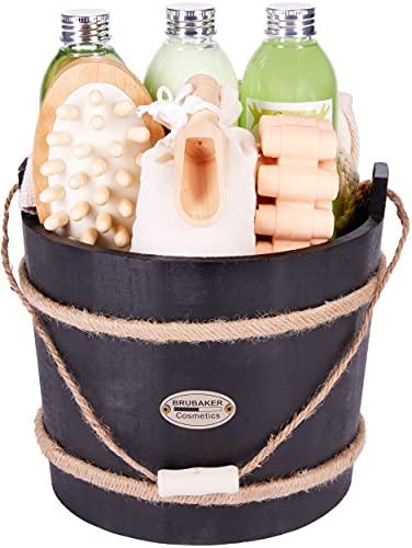 BRUBAKER Cosmetics Wellness Badeset - Aloe Vera - 9-teiliges Geschenkset mit Pflege- und Massage Accessoires im dekorativen Badefass