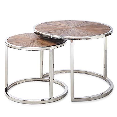 Riviera Maison - Beistelltisch, Couchtisch, Tisch - Greenwich - aus recyceltem Holz - 2er Set - Höhe: 43 und 37 cm