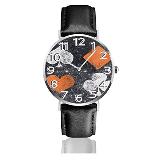 Reloj de Pulsera Flor de póquer en Negro Correa de Cuero sintético Duradero Relojes de Negocios de Cuarzo Reloj de Pulsera Informal Unisex