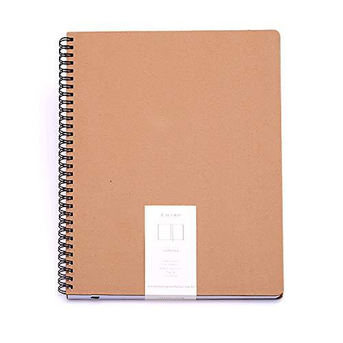 Caderno sem Pauta, Cicero, Wire O Kraft, 2575, Bege, 21x28