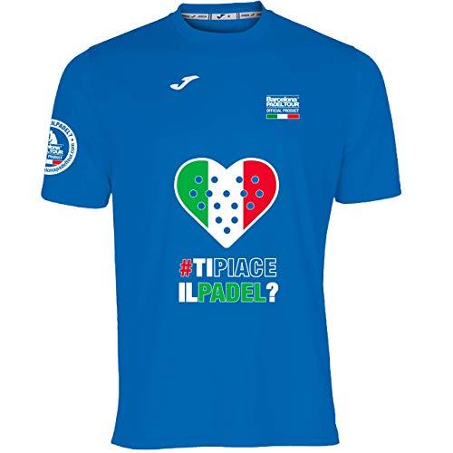 Barcelona Padel Tour | Camiseta Técnica de Manga Corta para Hombre Joma | En Tejido Micro Mesh Transpirable con Corazón Love Pádel y Bandera Italia Azul Royal XL
