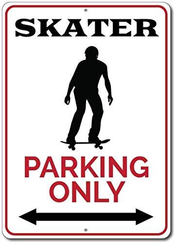 TammieLove Panneau en métal Personnalisable avec Inscription en Anglais « Skater Parking Only » - 20,3 x 30,5 cm