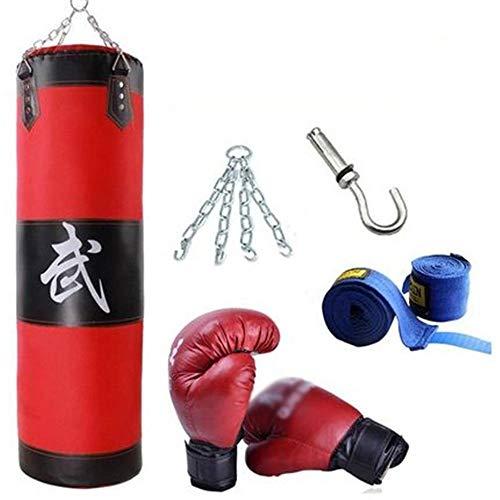 Saco de Boxeo de Tipo Suspendido Ponche Saco de Arena, Bolsa de Boxeo Gancho Kick Boxing Equipo de Entrenamiento Bolsas Pesadas (Color : Red, Size : 120x33cm)