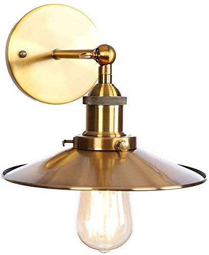Waqihreu lámpara de Pared de Metal, Estilo Industrial Retro, lámpara de Noche, lámpara Frontal de Espejo, Adecuada para Sala de Estar, Cocina, Comedor, Oficina, cafetería, Oro