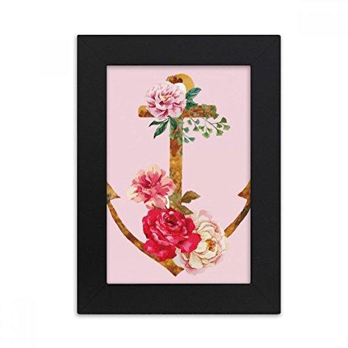 DIYthinker Aquarell Rose Anchor-Blumen-Anlage Desktop-Bilderrahmen Foto Schwarz-Kunst-Malerei Passt 10.2 x 15.2cm (4 x 6 Zoll) Bild Mehrfarbig