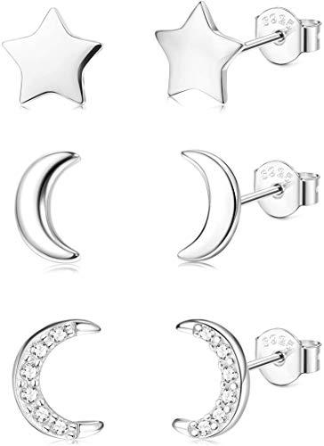 Hypoallergenes Ohrring-Set mit Stern- und Mondmotiv