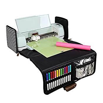 Everything Mary Black & White Stripes Collapsible Die-Cutting Machine Carrying Case - Craft Bag Compatible with Cricut Air/Maker & Brother ScanNCut DX - Cutting Machine Storage for Vinyl