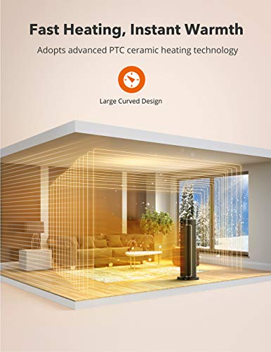 Space Heater, TaoTronics 1500W PTC Fast Heating Ceramic Heater Portable Oscillating Electric Heater with Remote & Thermostat 12H Timer LED Display Overheating & Tip-Over Protection for Indoor Use