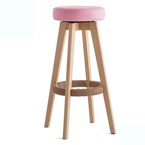 Chaises de barre, tabouret haut, tabouret de barre en bois plein à la maison, chaise européenne minimaliste moderne (Couleur : Rose, taille : 48*48*74cm)