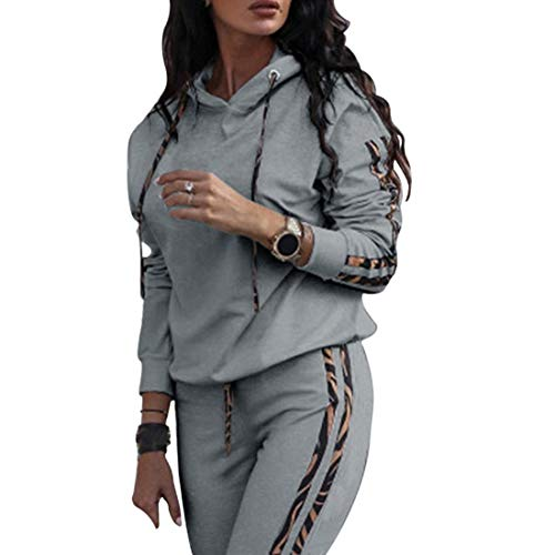 MoneRffi Damen Sportanzug Trainingsanzug Mode 2-teiliges Set Damen Sport Hoodie Langarm Sweatshirt Pullover Top + Lange Hose Jogginganzug Sportbekleidung Freizeitbekleidung Set Outfit