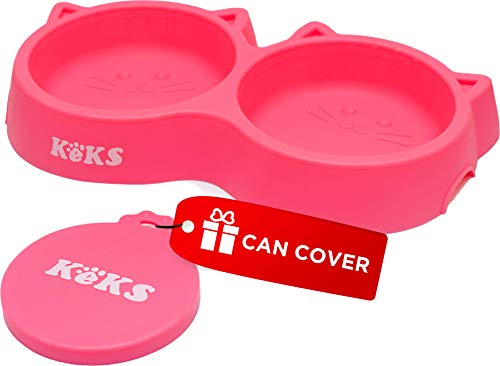 Cat Bowls - Pink Cat Food Set of Silicone Cat Feeder Stand & Pets Food Can Cover - Cat Food Bowl Set - Cat Dish Set - Kitten Food Bowl - Cat Feeding Bowls - Cat Water Bowl