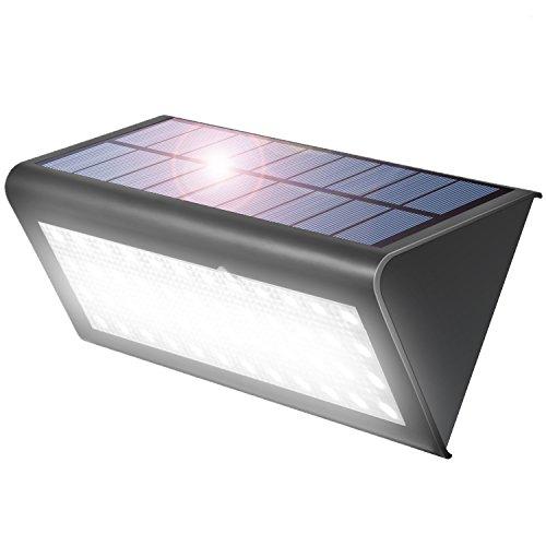 Aglaia - Lámpara solar de pared para exteriores de 38 LED con sensor de movimiento, 4W