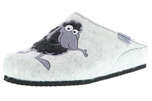 TOFEE Damen Hausschuhe Slipper Pantoffeln Pantoletten Naturwollfilz (Schaf) weiß, Größe:39, Farbe:Weiß