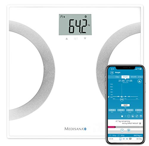 Medisana BS 445 connect, digitale Körperanalysewaage 180 kg, Personenwaage zur Messung von Körperfett, Körperwasser, Muskelmasse und Knochengewicht, Körperfettwaage mit Körperanalyse App