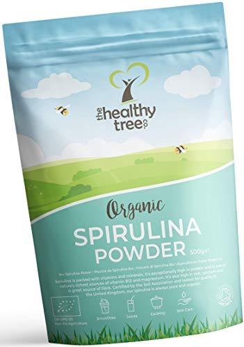Espirulina en Polvo Orgánico de TheHealthyTree Company para Zumos y Batidos Veganos - Alta en Vitamina B12, Magnesio, Proteínas y Hierro - Espirulina Pura Certificada en el Reino Unido (500 g)