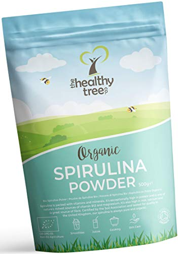 Organic Spirulina Powder by TheHealthyTree Company for Vegan Juices and Smoothies - High in Vitamin B12, Magnesium, Protein, Iron and Calcium - UK Certified Pure Spirulina Powder (500g)