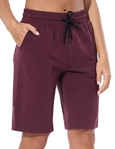 """BALEAF 10"""" Athletic Lightweight Bermuda Yoga Shorts for Women Cotton Pajama Lounge Shorts Workout Long Pocket Shorts Ruby Wine Size M"""
