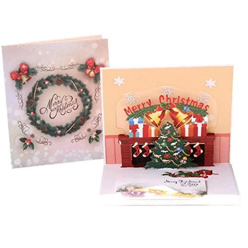 Amoyer 1pc 3D Umschlägen Karten Cartoon-Weihnachtsbaum Handgemachte Karte Kreative Feiertags-Karte Gruß