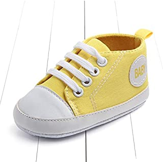 Children Shoes 3 Pairs Canvas Classic Sports Sneakers Newborn Baby Boys Girls First Walkers Shoes Infant Toddler Soft Sole Anti-Slip Baby Shoes(Darkblue Star) (Color : Yellow Baby)