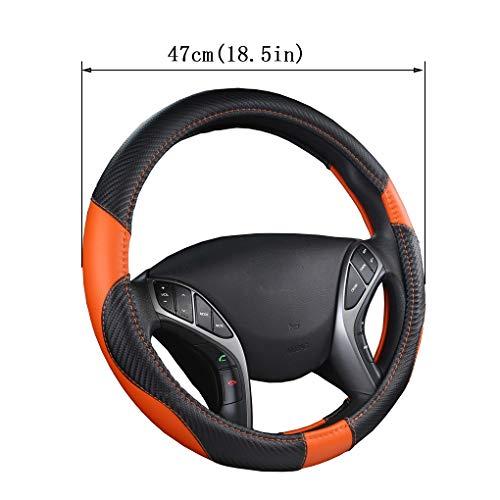 LKW-Auto-Lenkrad-Abdeckung Mikrofaser Leder Anti-Rutsch-Zubehör Auto für Auto-SUV Scania R P und S Bus RV (orange),47cm