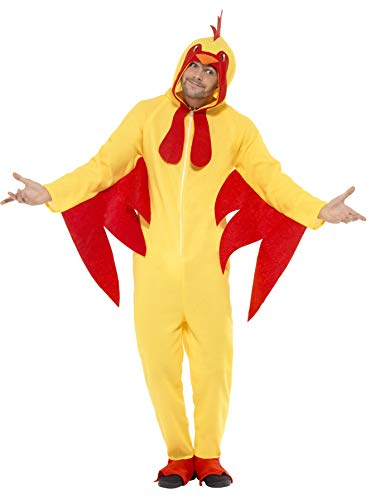 Smiffys Unisex Hühner Kostüm, All-in-one mit Kapuze, Größe: L, 27857