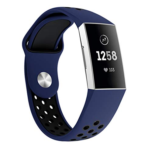 Fitbit Charge 3 バンド/ベルト Comtax 交換用バンド 柔らかいシリコンバンド 調整可能 多色選択 スポーツ 交換ベルド (L, ブルー+ブラック)