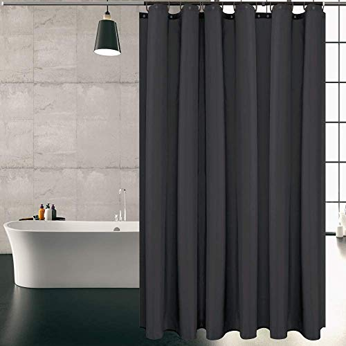KIPIDA Duschvorhang Textil, Anti-Schimmel, Wasserdichter, Waschbar Anti-Bakteriell Stoff Polyester Badewanne Vorhang mit 8 Duschvorhängeringen, 180x200cm, Schwarz