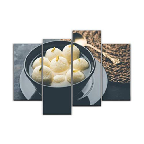 Sudoiseau Wall Art Painting Indian rasgulla or rosogulla Dessert/Sweet Served in a Bowl Selective Pictures Canvas Prints Poster Oil Paintings Landscape Paint Modern Home Decor Artwork Gift, 4 Panels
