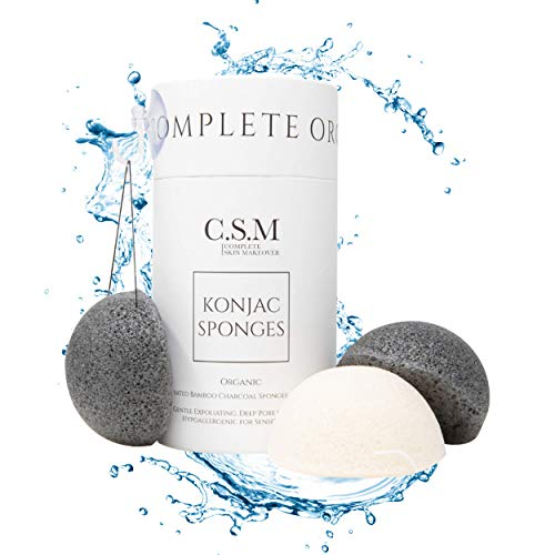 CSM Organic Konjac Sponges 3-Pack for Gentle Exfoliating - Facial Sponges with Premium Activated Bamboo Charcoal to Cleanse Pores, Remove Impurities, Exfoliation - 2 Black Charcoal, 1 White Natural