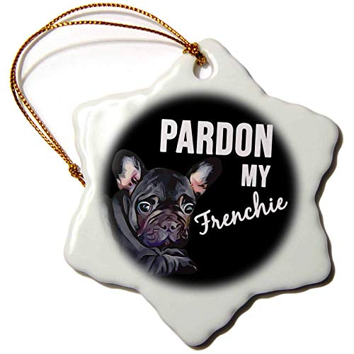 Stamp City - Typography - Pardon My Frenchie with Black Frenchie. White on Black Background. Christmas Ornaments Porcelain,Christmas Tree Decoration Ornaments