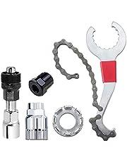Fiets Cassette Removal Tool – multifunctionele fietsgereedschap reparatieset met 5-11-voudig compatibel kettingzweep, trapas cranktrekker, tandwieltrekker, cranktrekker, spaaksleutel