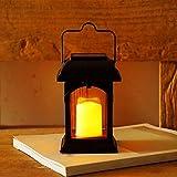 ASDFA Farolillos solares para exteriores, impermeable con mango solar con vela LED con vela parpadeante retro para jardín césped árbol yarda (negro)