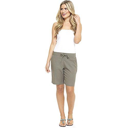 CityComfort Ladies Lino Pantalones Casual Holiday Elasticated Waist Womens Summer Pantalones Pantalones Cortos recortados con Bolsillos (12, Pantalones Cortos de Color Caqui)