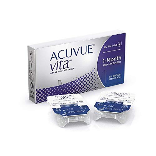 ACUVUE Vita Monatskontaktlinsen mit maximalem Tragekomfürt – Den ganzen Monat lang – -4 dpt & BC 8.4 – Mit UV Schutz & durchgängig hohem Feuchtigkeitsgehalt – 6 Linsen