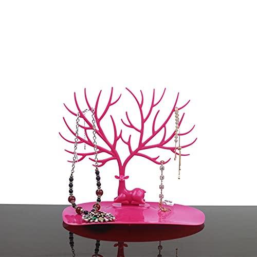 Gioielli di stoccaggio nero bianco rosa rosa rosso cervo orecchini collana anello ciondolo bracciale gioielli casi & espositore vassoio albero gioielli stoccaggio gioielli (colore : rosa rosso)