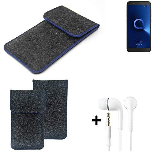 K-S-Trade® Filz Schutz Hülle Für Alcatel 1C Dual SIM Schutzhülle Filztasche Pouch Tasche Handyhülle Filzhülle Dunkelgrau, Blauer Rand Rand + Kopfhörer