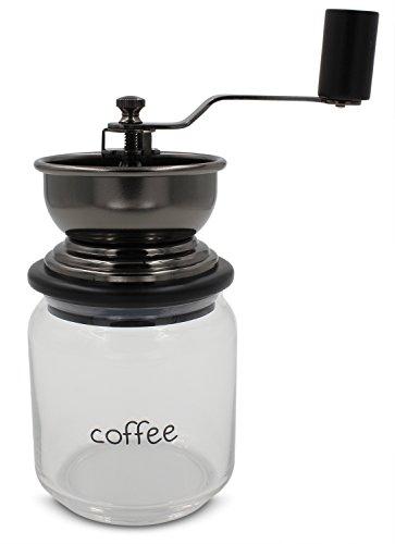Macina Caffè Manuale con Meccanismo in Ceramica Regolabile, Contenitore in Vetro Resistente, Tramoggia e Manovella in Acciaio Inossidabile (LifeBoost CF 700 GL-AC)