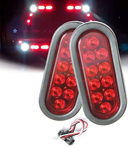 AUTOSMART 2PCS Red Oval Sealed LED Turn Signal and Parking Light Kit with Light, Grommet and Plug for Truck, Trailer (Turn, Stop, and Tail Light)